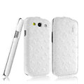 IMAK Ostrich Series leather Case holster Cover for Samsung Galaxy SIII S3 I9300 I9308 I939 I535 - White