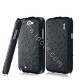 IMAK Ostrich Series leather Case holster Cover for Samsung N7100 GALAXY Note2 - Black