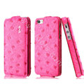 IMAK Ostrich Series leather Case holster Cover for iPhone 5 - Rose