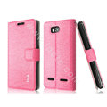 IMAK Slim leather Case holder Holster Cover for Huawei U8950D C8950D G600 - Pink