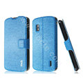 IMAK Slim leather Case holder Holster Cover for LG E960 Nexus 4 - Blue