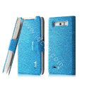 IMAK Slim leather Case holder Holster Cover for Motorola XT788 - Blue