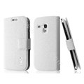 IMAK Slim leather Case holder Holster Cover for Samsung I8190 GALAXY SIII Mini - White