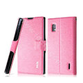 IMAK Slim leather Case support Holster Cover for LG E970 - Pink