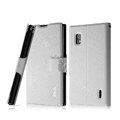 IMAK Slim leather Case support Holster Cover for LG E970 - White