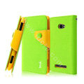 IMAK cross leather case Button holster holder cover for HTC 8S - Green