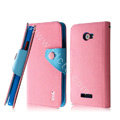 IMAK cross leather case Button holster holder cover for HTC X920e Droid DNA - Pink