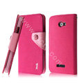 IMAK cross leather case Button holster holder cover for HTC X920e Droid DNA - Rose