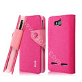 IMAK cross leather case Button holster holder cover for Huawei U8950D C8950D G600 - Rose