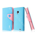 IMAK cross leather case Button holster holder cover for MEIZU MX2 - Blue