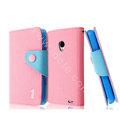 IMAK cross leather case Button holster holder cover for MEIZU MX2 - Pink