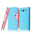 IMAK cross leather case Button holster holder cover for Samsung Galaxy SIII S3 I9300 I9308 I939 I535 - Blue