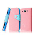IMAK cross leather case Button holster holder cover for Samsung Galaxy SIII S3 I9300 I9308 I939 I535 - Pink