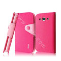 IMAK cross leather case Button holster holder cover for Samsung Galaxy SIII S3 I9300 I9308 I939 I535 - Rose