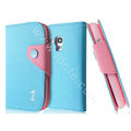 IMAK cross leather case Button holster holder cover for Samsung I8190 GALAXY SIII Mini - Blue