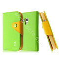 IMAK cross leather case Button holster holder cover for Samsung I8190 GALAXY SIII Mini - Green