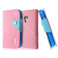 IMAK cross leather case Button holster holder cover for Samsung I8190 GALAXY SIII Mini - Pink