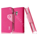 IMAK cross leather case Button holster holder cover for Samsung I8190 GALAXY SIII Mini - Rose