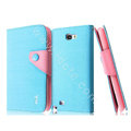 IMAK cross leather case Button holster holder cover for Samsung N7100 GALAXY Note2 - Blue