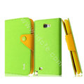 IMAK cross leather case Button holster holder cover for Samsung N7100 GALAXY Note2 - Green