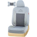 VV camel velvet mesh Custom Auto Car Seat Cover Set - Gray