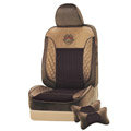 VV velvet mesh Custom Auto Car Seat Cover Set - Coffee Brown