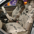 OULILAI British Fashion Cultural Pattern Universal Auto Car Seat Cover Cushion 9pcs - Beige