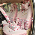 Floral print Bowknot Lace Universal Auto Car Seat Cover Set 21pcs ice silk - Pink
