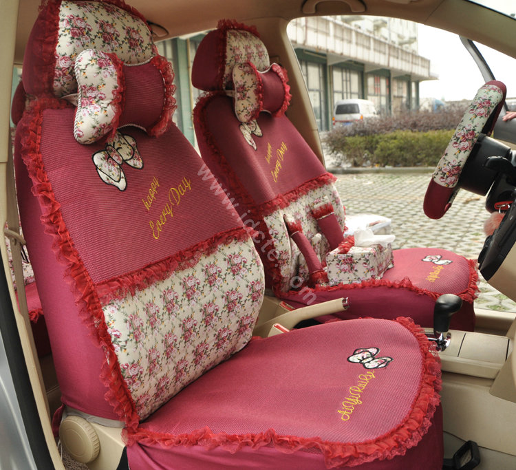 Buy Wholesale Floral Print Bowknot Lace Universal Auto Car Seat