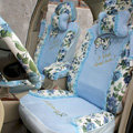 Floral print Lace Bowknot Universal Auto Car Seat Cover Set 21pcs ice silk - Blue