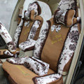 Floral print Lace Bowknot Universal Auto Car Seat Cover Set 21pcs ice silk - Coffee