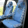 Floral print Lace Bowknot Universal Auto Car Seat Cover Set 21pcs ice silk - Deep Blue