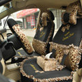 Leopard Lace Universal Auto Car Seat Cover Set 21pcs ice silk - Beige Black