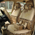 Leopard Lace Universal Auto Car Seat Cover Set 21pcs ice silk - Beige