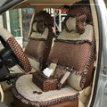 Round dot Lace Universal Auto Car Seat Cover Set 21pcs ice silk - Coffee