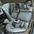 Round dot Lace Universal Auto Car Seat Cover Set 21pcs ice silk - Gray
