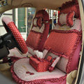 Round dot Lace Universal Auto Car Seat Cover Set 21pcs ice silk - Red