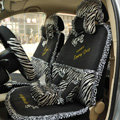 Zebra Lace Universal Auto Car Seat Cover Set 21pcs ice silk - Black