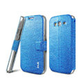 IMAK Slim leather Case support Holster Cover for Samsung i9080 i9082 Galaxy Grand DUOS - Blue