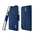 IMAK Squirrel lines leather Case support Holster Cover for Samsung GALAXY S4 I9500 SIV - Blue