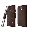 IMAK Squirrel lines leather Case support Holster Cover for Samsung GALAXY S4 I9500 SIV - Coffee