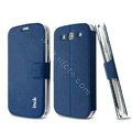 IMAK Squirrel lines leather Case support Holster Cover for Samsung Galaxy SIII S3 I9300 I9308 I939 I535 - Blue