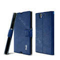 IMAK Squirrel lines leather Case support Holster Cover for Sony Ericsson L36i L36h Xperia Z - Blue