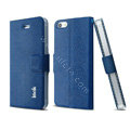 IMAK Squirrel lines leather Case support Holster Cover for iPhone 5 - Blue