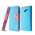 IMAK cross leather case Button holster holder cover for HUAWEI Ascend D2 - Blue