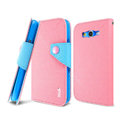 IMAK cross leather case Button holster holder cover for Samsung i9080 i9082 Galaxy Grand DUOS - Pink