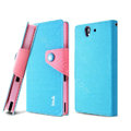 IMAK cross leather case Button holster holder cover for Sony Ericsson L36i L36h Xperia Z - Blue
