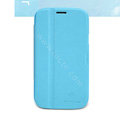 Nillkin Fresh leather Case Bracket Holster Cover Skin for Samsung i879 - Blue