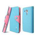 IMAK Cross leather Case Button Holster Cover for Sony Ericsson M35h Xperia SP - Blue