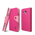 IMAK Cross leather Case Button Holster Cover for Sony Ericsson M35h Xperia SP - Rose